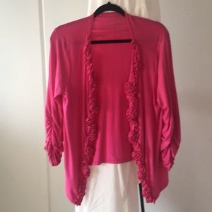 Cute Pink Jacket with Roses and Ruched Sleeves -OS